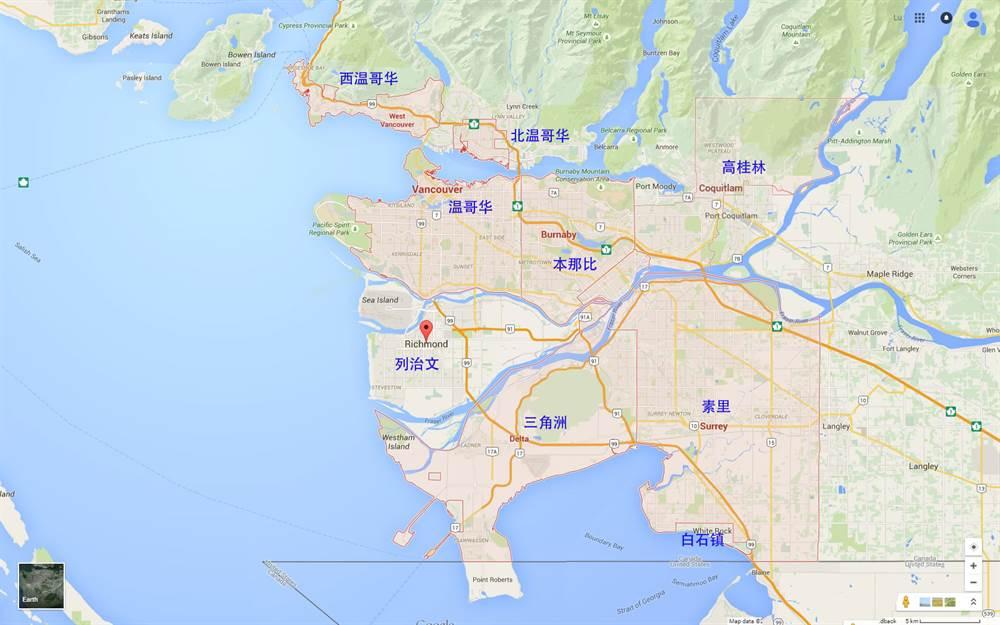 大温哥华地区主要城市地图